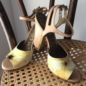 Sam Edelman Odetta yellow floral heels sandals 👡